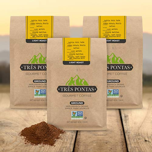 - Tres Pontas: Gourmet Ground Coffee, Premium Instant Coffee From 100-percent Pure Arabica Beans, 12 oz Whole Bean Bag, Non-GMO (Light Roast, 12 oz (3-Pack))