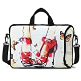 AUPET 16 16.5' 17'-17.3-Inch Water Resistant Neoprene Sleeve Notebook Neoprene Messenger Case Tote Bag with Outside Handle and Adjustable Shoulder Strap & Extra Pocket(Nice High-heeled Shoes)