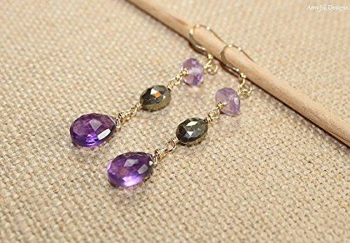 Pyrite Briolette Earrings (Amethyst, Pyrite and Pink Amethyst Earrings, Wire Wrap, Amethyst Jewelry, Gemstone Earrings)