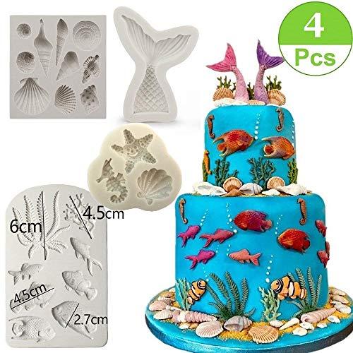 Marine Theme Cake Fondant Mold - Seaweed Fish Seashell Mermaid Tail Silicone Mold for Mermaid Theme Cake Decoration Chocolate Candy Polymer Clay Cupcake Cookie Jelly Sugar Craft ()