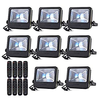 LOFTEK 30W LED Flood Light, RGB Spotlight with Remote Control, IP66 Protection and UL Listed Plug, 16 Colors Changing and 6 Levels Adjustable Brightness for Outdoor Decoration, Black?Pack of 8