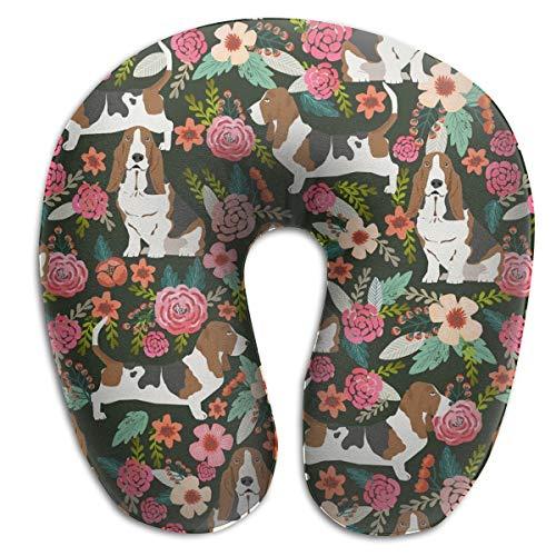 NiYoung Travel Neck Pillow Cervical Vertebra Restful Sleep Travel Pillow Office Sleep Artifact Female Male Neck Support Sleeping Rest Cushion - Crazy Basset Hound Florals ()