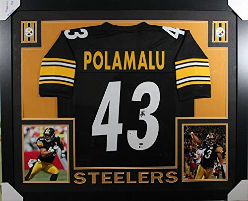 (Troy Polamalu Autographed Jersey - Framed Black XL BAS 18114 - Beckett Authentication - Autographed NFL Jerseys)