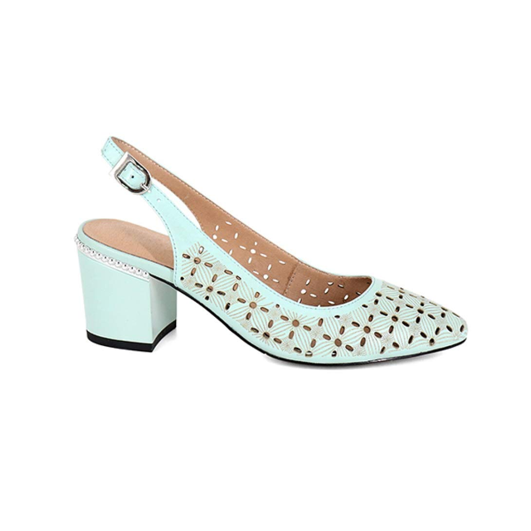 Green T-JULY Women's Sandals Career Sheepskin Solid Buckle Strap Fashion High Square Heel shoes Handmade Back Strap Sandals