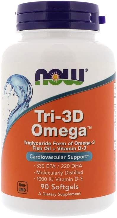 Now Supplements, Tri-3D Omega, Triglyceride Form of Omega-3 Fish Oil + Vitamin D-3, Molecularly Distilled, 90 Softgels