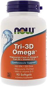 Now Supplements, Tri-3D Omega, Triglyceride Form of Omega-3 Fish Oil + Vitamin D-3, Molecularly Distilled, 90 Softgels