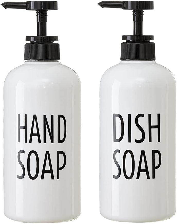 White Plastic Hand Soap & Dish Soap Dispenser Set for Kitchen, Refillable Pump Bottle Plastic for Liquid Soap, Shampoo, Body Wash, Rustic Farmhouse Kitchen Counter Decor and Organization