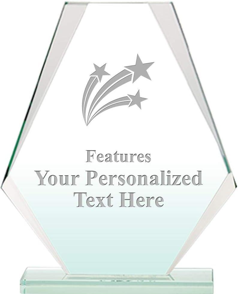 6 H Custom Acrylic Award Trophy Engraving Included Prime Three Shooting Stars Jade Pyramid Crystal Award