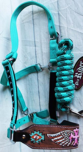 (PRORIDER Horse Noseband Tack Bronc Leather Halter Tiedown Lead Rope 280M76203)