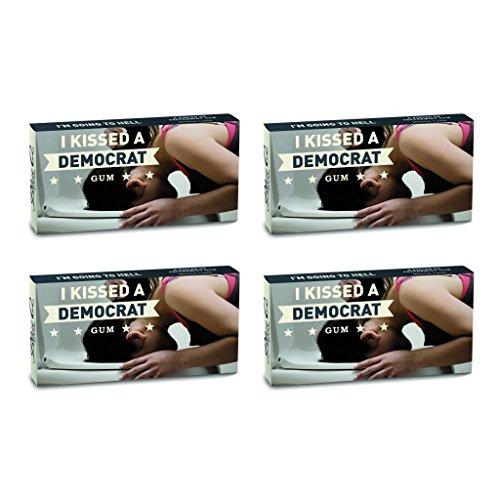 BlueQ I Kissed A Democrat Peppermint Flavored Gum (4 packs per order) (Think Gum)
