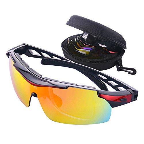 MATT SAGA Polarized Sports Sunglasses for Men Women, Bike Glasses with Strap Interchangeable Lens, Bicycle Sunglasses for Driving Cycling Running Fishing Golf Baseball Outdoor Eyewear Shades