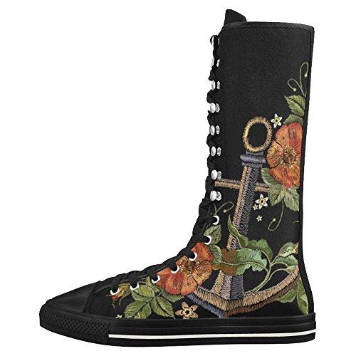 D-story Fashion Allacciate Scarpe Da Ginnastica Alte In Tela Punk Danza Lunga Scarpe Da Ginnastica Per Donna Multicolore2