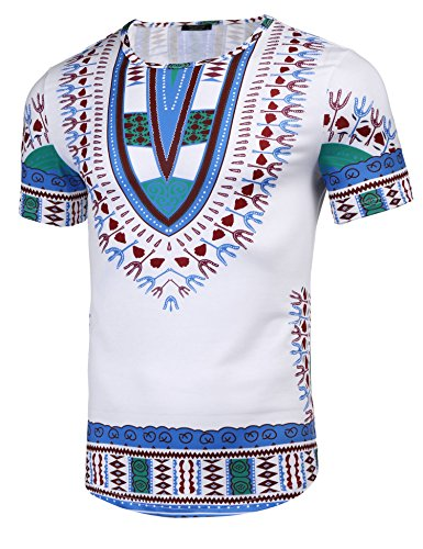 Modfine Mens Short Sleeve Tee Hipster Hip Hop Tribal African Dashiki Graphic T-Shirt