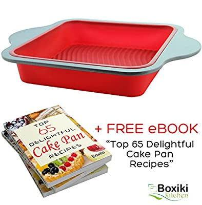 """Professional Non-Stick Silicone Square Cake Pan Baking Mold by Boxiki Kitchen 