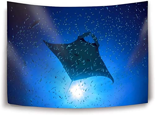 Miaoquhe Manta Ray Eco Companion Tapestry Polyester Fabric Wall Tapestry for Bedroom Living Room Dorm