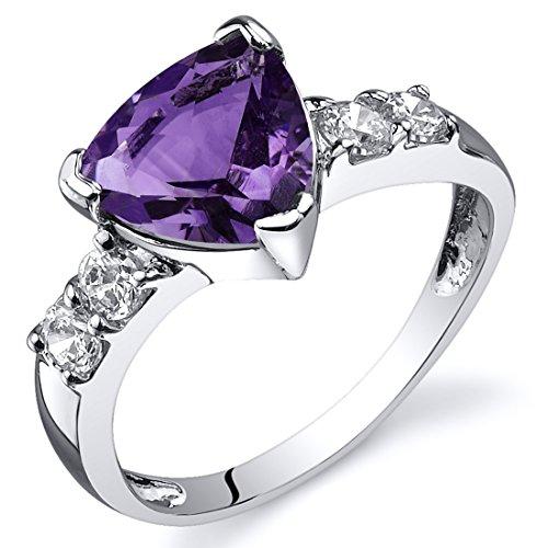 Amethyst Ring Sterling Silver Rhodium Nickel Finish Trillion Cut 1.50 Carats Size 8