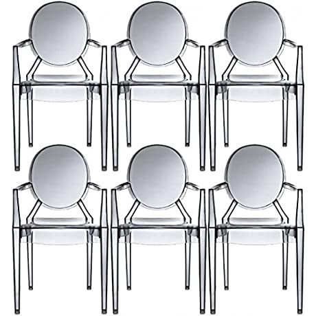 2xhome Set Of 6 Modern Ghost Chair Armchair With Arm Smoke Polycarbonate Plastic