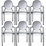 2xhome – Set of 6 Modern Ghost Chair Armchair with Arm Polycarbonate Plastic (Smoke)