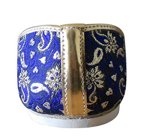 Kalra Creations - Zapatillas de estar por casa de Seda para hombre Blue-Golden