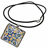 3dRose Danita Delimont - Cindy Miller Hopkins - Tiles - Brazil, State of Bahia, Salvador. Jesuit Cathedral, Portuguese Tiles. - Necklace with Pendant