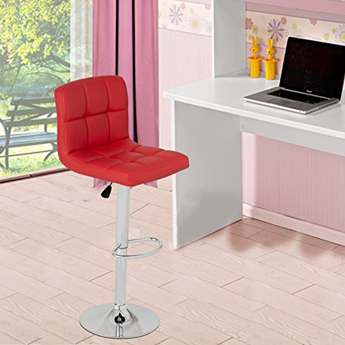 GentleShower Barstools, Set of 2 Modern Square PU Leather Adjustable Height Swivel Bar Stools Pub Chairs with Backrest Red