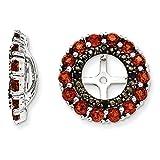 ICE CARATS 925 Sterling Silver Red Garnet Black Sapphire Earrings Jacket Birthstone January Fine Jewelry Gift For Women Heart