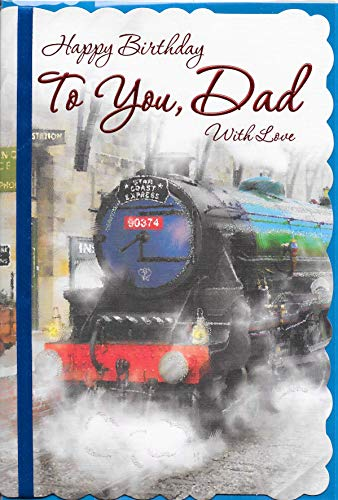Happy Birthday DAD Card****Green STEAM Train Theme***Blue Ribbon**Sentimental Verse**9 X 6 INCHES**1ST Class Post***AA1**