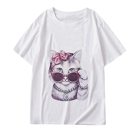 Mujer Moda Camiseta, Mujeres Casual Redondo Cuello Gato Impresión ...
