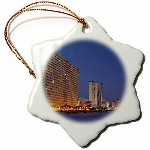OneMtoss Florida Panhandle, Panama City, Dan Russell Pier US WBI Walter Bibikow Snowflake Porcelain Ornament,