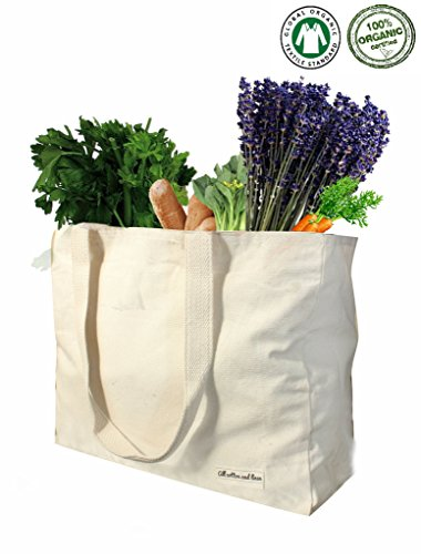 Reusable grocery bags canvas tote bag canvas shopping bags for women by All Cotton and Linen 100% GOTS Certified organic cotton halloween decor bag and reusable groceries bags ((14' Hx17' W x 5')