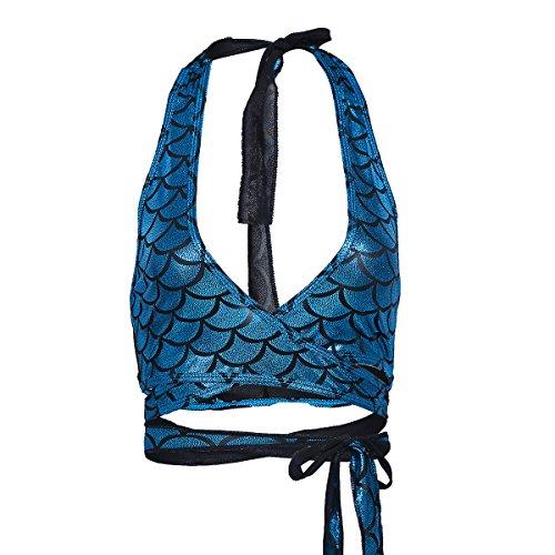 iiniim Women's Shiny Mermaid Fish Scale Halter Strappy Wrap Around Bra Top Rave Tops Light Blue Free Size (Bra Around Wrap)