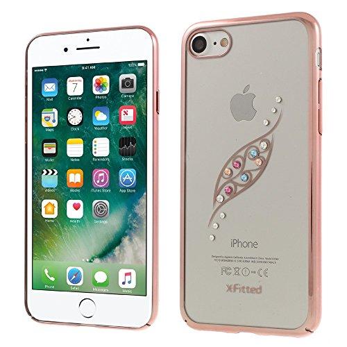 X-FITTED Rhinestones Graceful Leaf Pattern Eletroplating Hard Tasche Hüllen Schutzhülle Case für iPhone 7 - Rose Gold