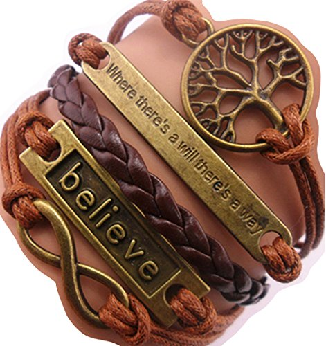 "Handmade ""Where There's a Will There's a Way"" Tree for Life Believe Charm Friendship Gift Leather Bracelet"