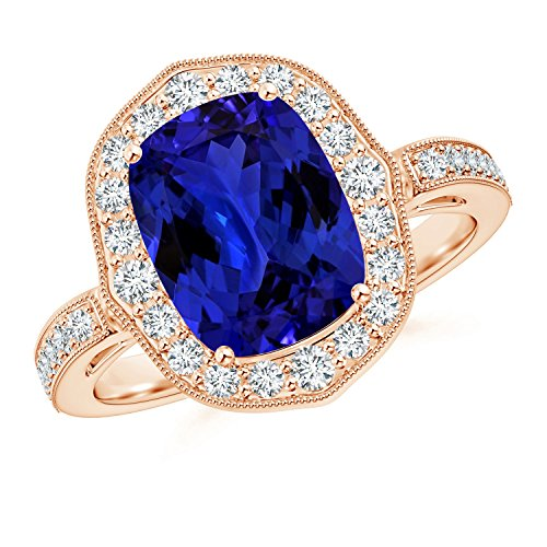 Tanzanite Ornate Halo Ring (GI