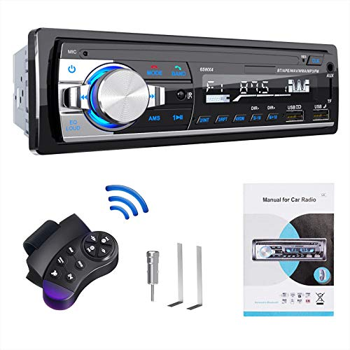 Car Stereo, Lifelf Car Radio Bluetooth 65W X 4 FM RDS Radio Hands Free Calling with Wireless Remote Control Single Din…