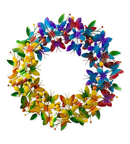 Wind & Weather Metal Butterfly Rainbow Wreath - 23 L x 3 W x 23 -