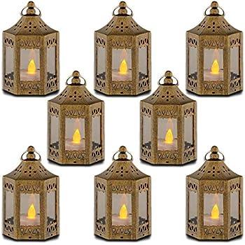 zkee Mini Star Lantern with Flickering LED,Battery Included,Decorative Hanging Lantern,Christmas Decorative Lantern,Indoor Candle Lantern,Battery Lantern Indoor Use, (Set of 8,Golden Brushed)