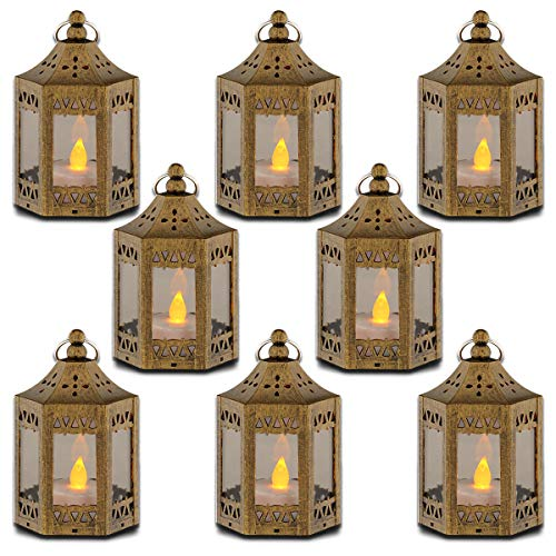 zkee Mini Star Lantern with Flickering LED,Battery Included,Decorative Hanging Lantern,Christmas Decorative Lantern,Indoor Candle Lantern,Battery Lantern Indoor Use, (Set of 8,Golden Brushed) (Lanterns Morroccan)