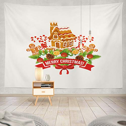 - Soopat Tapestry Polyester Fabric Merry Christmas Wish Lettering Red Ribbon and Gingerbread Cookie House Wall Hanging Tapestry Decorations for Bedroom Living Room Dorm 80X60 inch