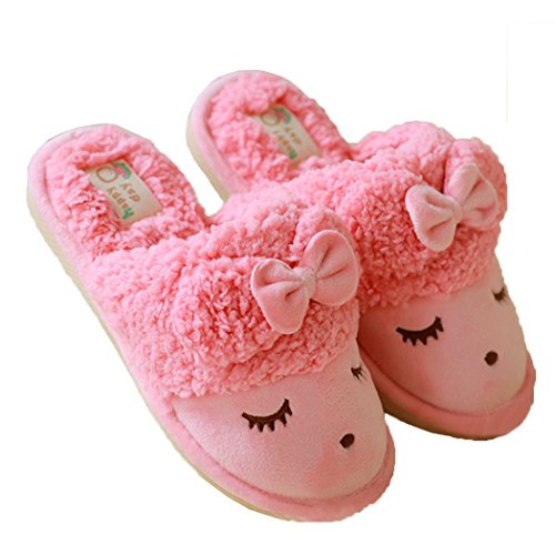 Watermelon Plush Soft Cute Red Open Slipper Sheep Indoor Back Sole Warm Winter Women's PTHxqwP