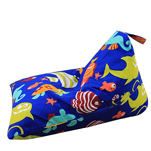 Injoy Stuffed Animal Bean Bag Chair for Kids and Adults, Canvas Stuffed Seat Organizer 100L/26 Gal, Blue with Fishes (Fish Bean Bag Chair)