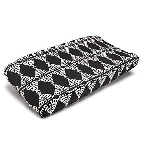Liz and Roo Pow Wow Contoured Changing Pad Cover, Black and White (Changing Cover Pad Linen)