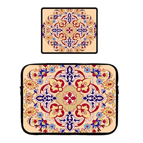 Laptop & MacBook PRO Zipper Sleeve Bag & Locking Edge Mouse Pad Multi Color Psychedelic Mandala Floral Designst 13