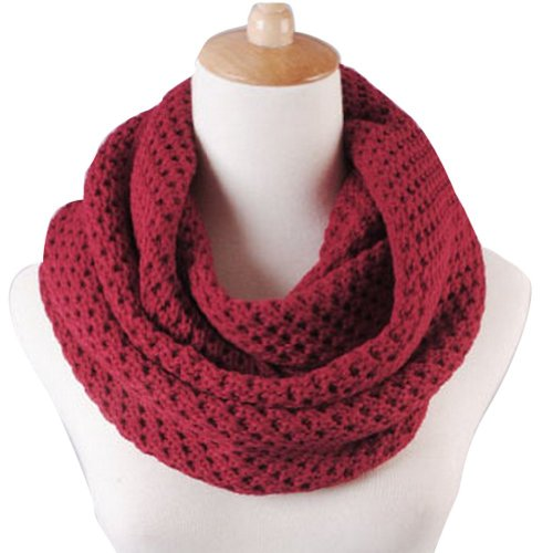 NSSTAR Winter Warm Weave Knitting Crochet Women Neck Warmer Infinity Scarves Loop Scarf Great Christmas Gift with 1PCS Free Cup Mat Color Ramdon (Wine Red)