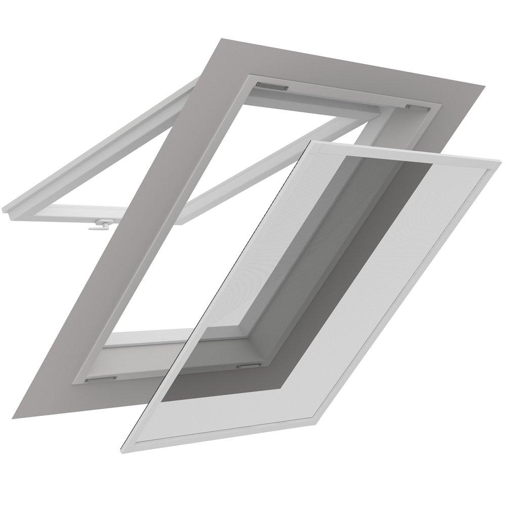 proheim Mosquitera para ventanas de techo con perfil de aluminio de 140 x 170 cm en color blanco - Tejido de polié ster con pelí cula de aluminio termorreflectante
