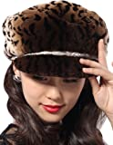 Queenshiny New Fashion Women's 100% Real Genuine Rex Rabbit Fur Peak Cap-One Size-Loepard