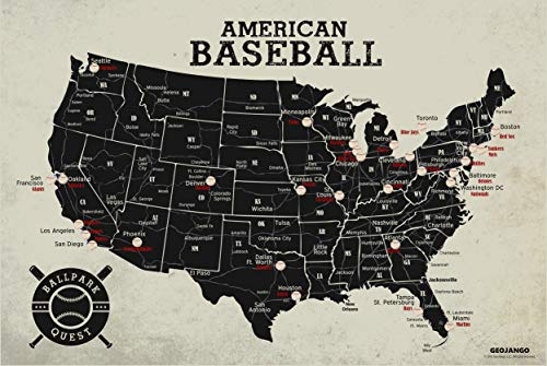 GeoJango Baseball Stadium Map Poster - Vintage Edition (36Wx24H inches)