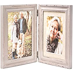 Double Folding LightGray Wood Picture Frame