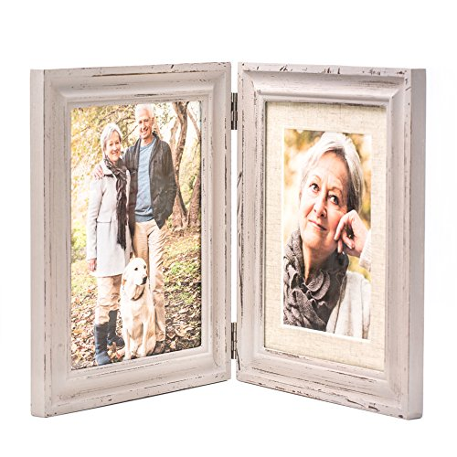 Double Folding 6x8 LightGray Wood Picture Frame with Glass Front - Display Pictures 6x8 Without Mat or 4x6 with Mat - American Class Style Antiquated