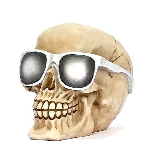 Home Decor Figurines - Bellaa Decorative Laughing White Skull with Sun Glass Fantasy Statue - Fantasy Sunglasses